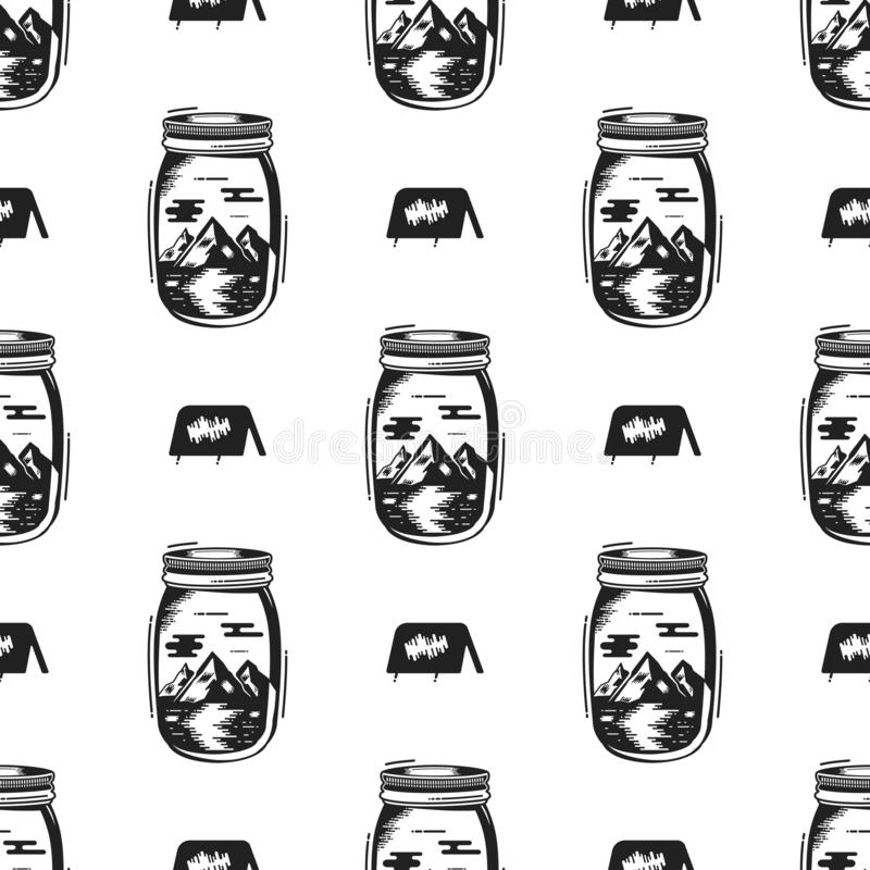 Άνευ ραφής σχέδιο μπουκαλιών βάζων περιπέτειας με το σύμβολο σκηνών, στοιχεία βουνών Εκλεκτής ποιότητας συρμένο χέρι υπόβαθρο ταπ ελεύθερη απεικόνιση δικαιώματος