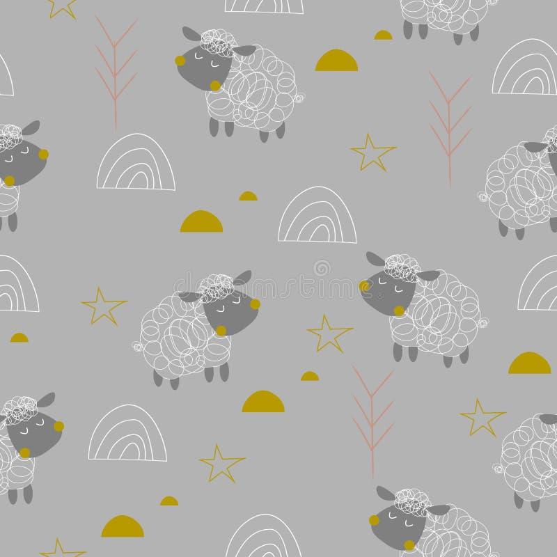 Άνευ ραφής σχέδιο μωρών sheeps διανυσματική απεικόνιση