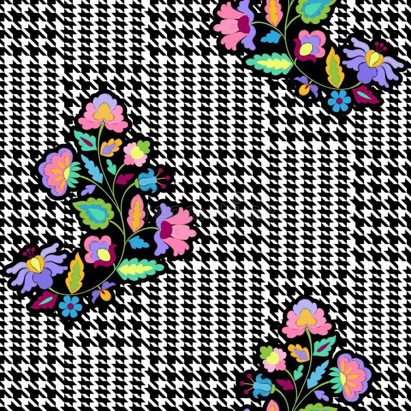 Άνευ ραφής σχέδιο μόδας ελέγχου με τα λουλούδια κεντητικής ελεύθερη απεικόνιση δικαιώματος