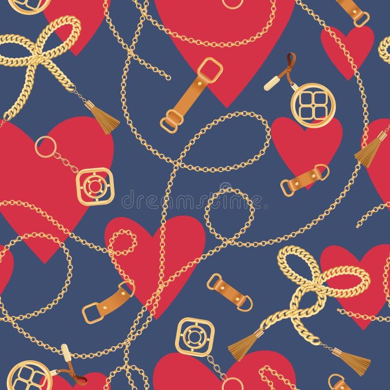 Άνευ ραφής σχέδιο μόδας με τις χρυσές αλυσίδες και τις καρδιές Υπόβαθρο ημέρας βαλεντίνων εξαρτημάτων αλυσίδων, πλεξουδών και κοσ απεικόνιση αποθεμάτων