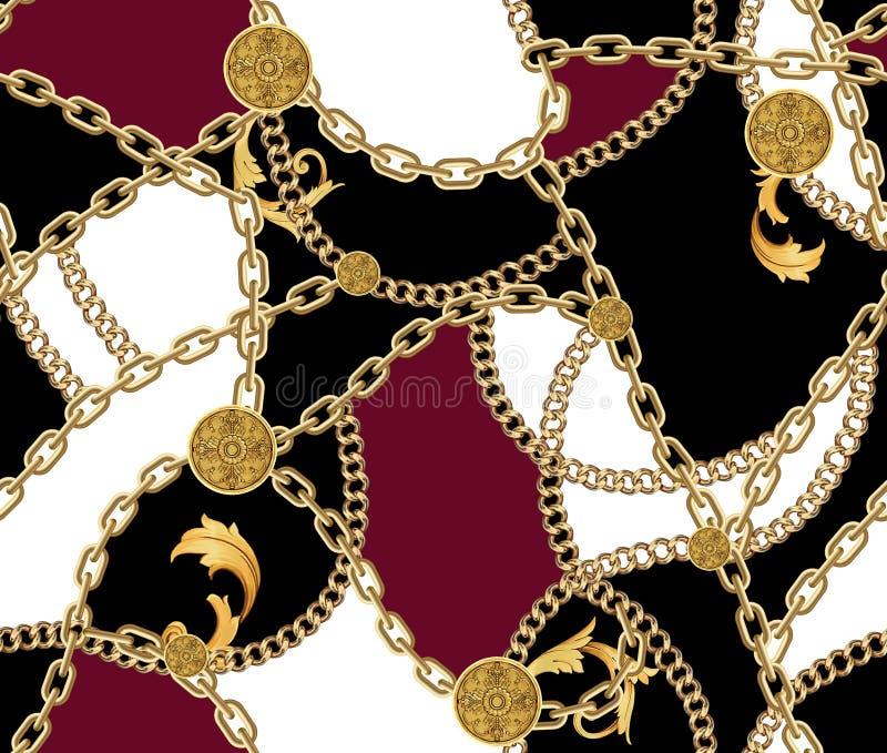 Άνευ ραφής σχέδιο μόδας με τις χρυσές αλυσίδες στοκ φωτογραφία με δικαίωμα ελεύθερης χρήσης
