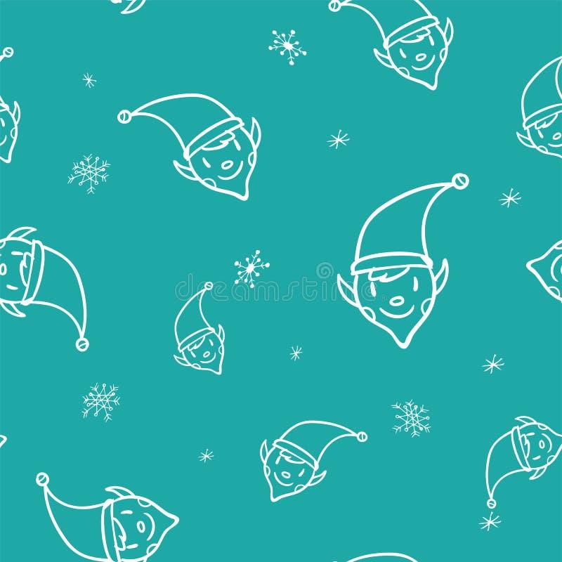 Άνευ ραφής σχέδιο νεραιδών Χριστουγέννων doodle στο μπλε υπόβαθρο Χαριτωμένο υπόβαθρο χειμερινών διακοπών Σχέδιο μωρών για το κλω ελεύθερη απεικόνιση δικαιώματος