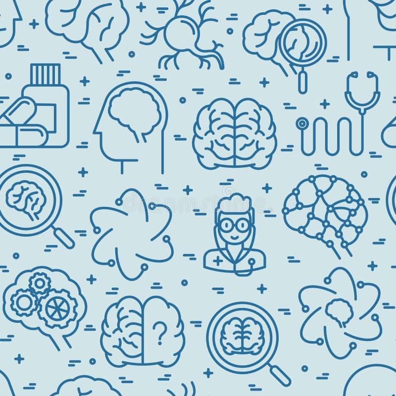 Άνευ ραφής σχέδιο νευρολογίας με τα λεπτά εικονίδια γραμμών διανυσματική απεικόνιση