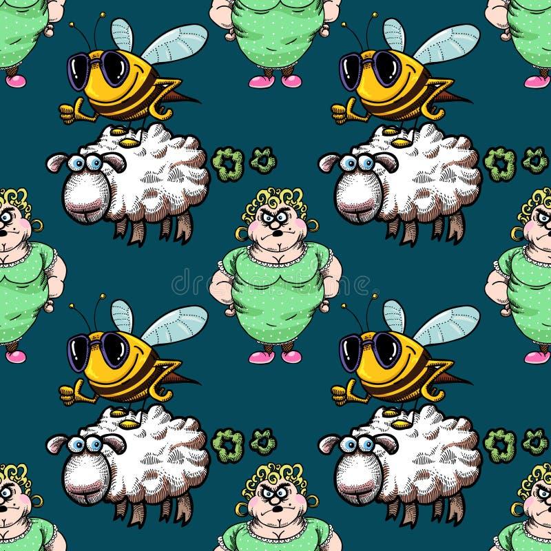 Άνευ ραφής σχέδιο νοικοκυρών, μελισσών και να κλάνω προβάτων απεικόνιση αποθεμάτων