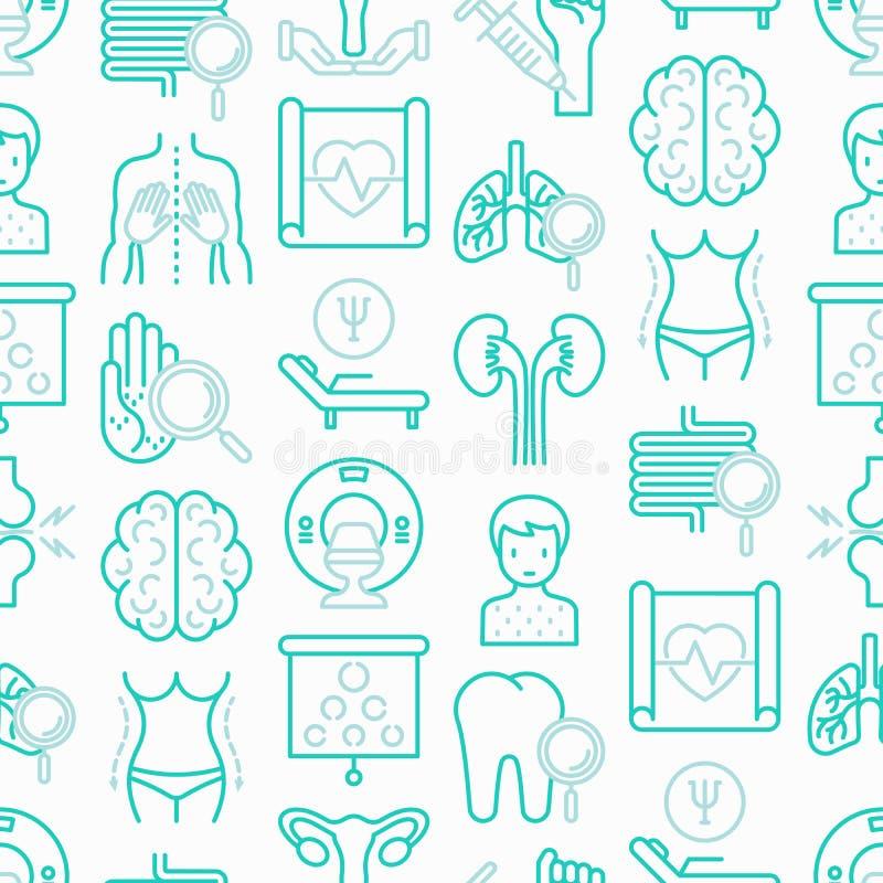 Άνευ ραφής σχέδιο νοσοκομείων με τα λεπτά εικονίδια γραμμών ελεύθερη απεικόνιση δικαιώματος