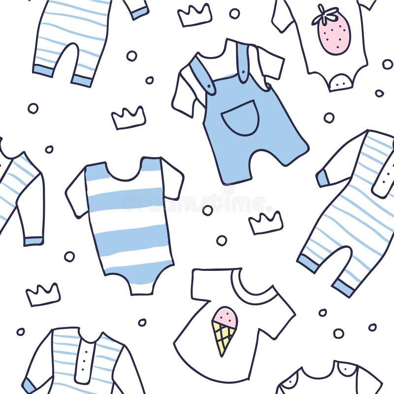 Άνευ ραφής σχέδιο ντους μωρών των ενδυμάτων αγοράκι απεικόνιση αποθεμάτων