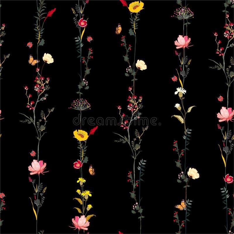 Άνευ ραφής σχέδιο νύχτας κήπων Brautiful σκοτεινό στο διανυσματικό μοντέρνο απεικόνισης βοτανικό σχέδιο λουλουδιών κήπων σειρών λ απεικόνιση αποθεμάτων