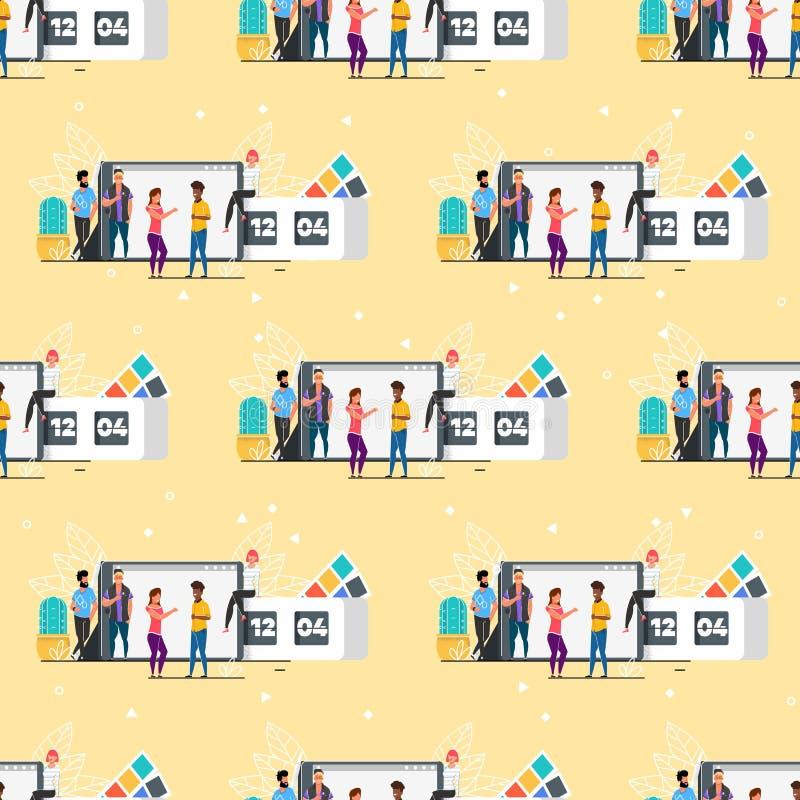 Άνευ ραφής σχέδιο ομάδας κινούμενων σχεδίων δημιουργικό πολυφυλετικό ελεύθερη απεικόνιση δικαιώματος