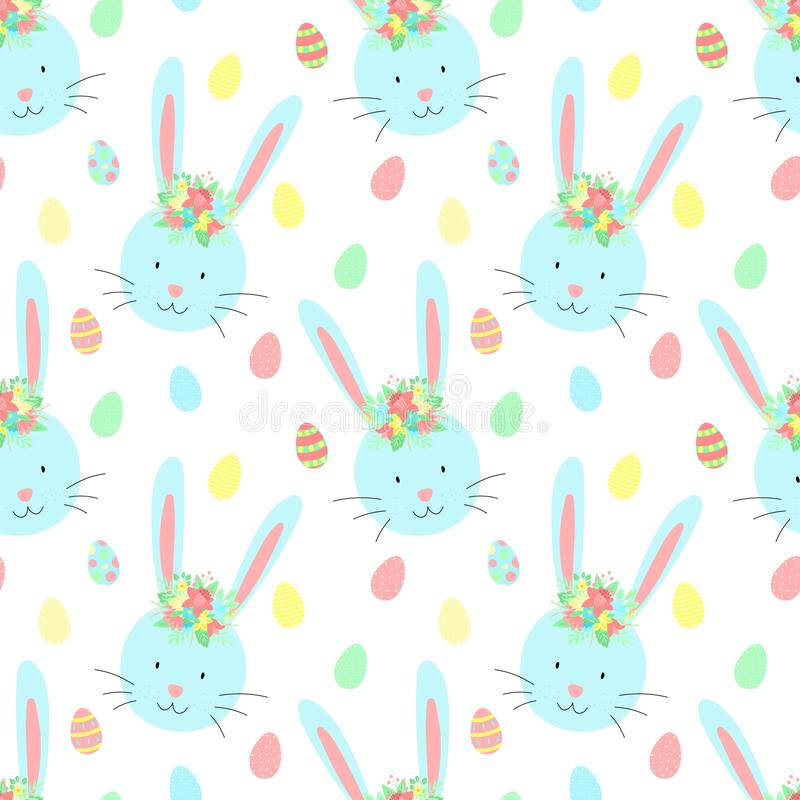 Άνευ ραφής σχέδιο Πάσχας με τα χαριτωμένα κουνέλια, τα αυγά και τα λουλούδια σε ένα διαφανές υπόβαθρο Διανυσματική hand-drawn απε απεικόνιση αποθεμάτων