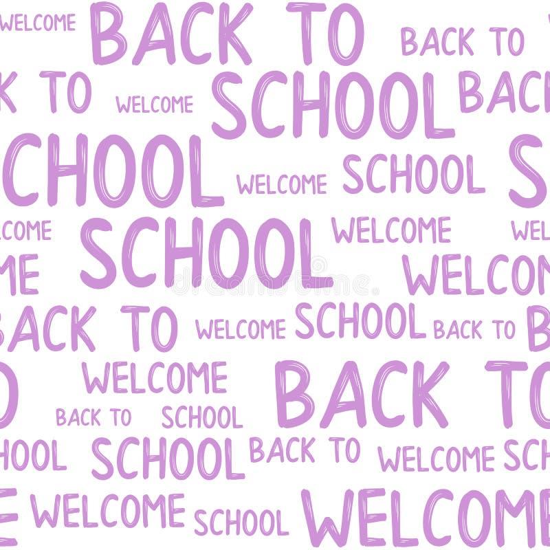 Άνευ ραφής σχέδιο πίσω στα αποσπάσματα σχολικών λέξεων διανυσματική απεικόνιση
