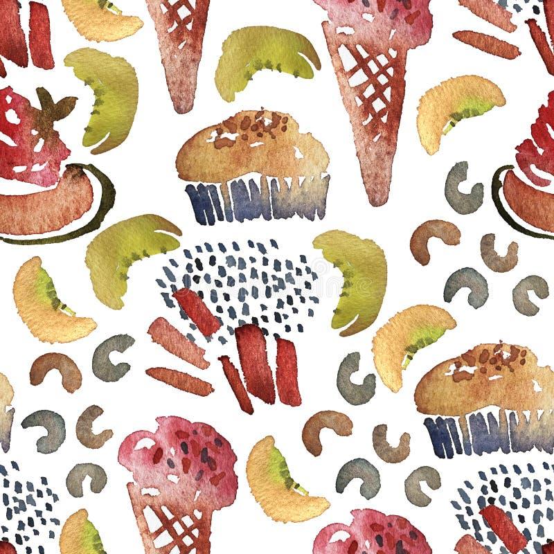 Άνευ ραφής σχέδιο παγωτού Συρμένη τυπωμένη ύλη θερινών παραλιών Watercolor χέρι με το γλειφιτζούρι πάγου και παγωτό σε ένα φλυτζά απεικόνιση αποθεμάτων