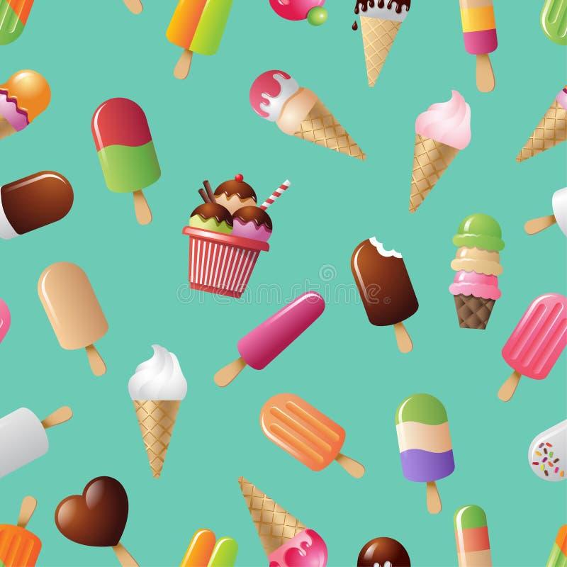 Άνευ ραφής σχέδιο παγωτού Χαριτωμένο παγωτό κινούμενων σχεδίων σε ένα κυανό υπόβαθρο διανυσματική απεικόνιση