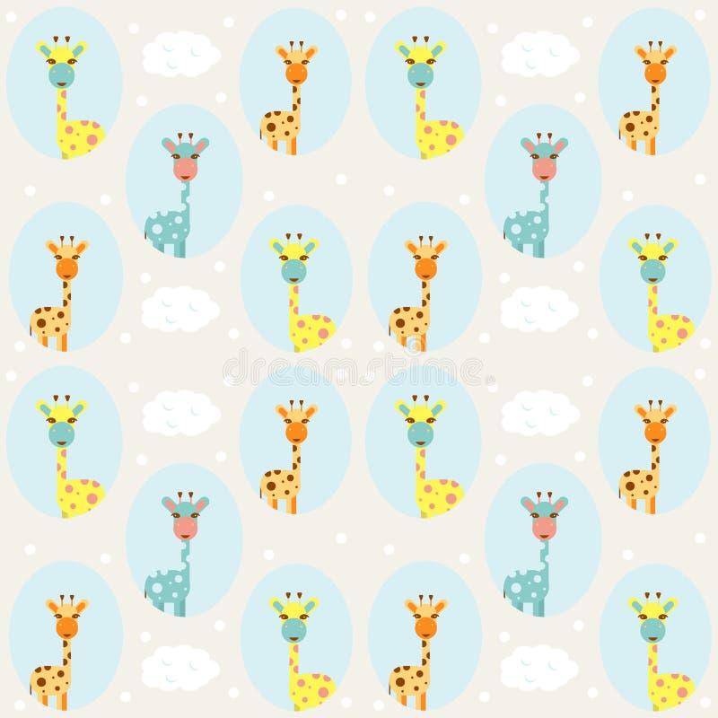 Άνευ ραφής σχέδιο παιδιών με τους ελέφαντες, τα σύννεφα και τα μπαλόνια o απεικόνιση αποθεμάτων