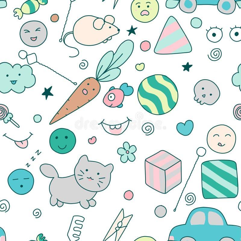 Άνευ ραφής σχέδιο παιδιών kawaii με τα εργαλεία λεκτικής θεραπείας με τα χαριτωμένα doodles διανυσματική απεικόνιση
