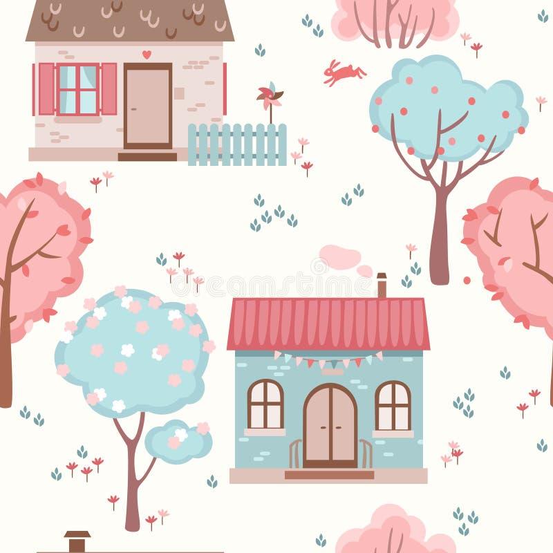 Άνευ ραφής σχέδιο παιδιών ` s με τα χαριτωμένα σπίτια, τα δέντρα και τα λουλούδια ελεύθερη απεικόνιση δικαιώματος