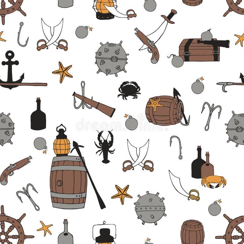 Άνευ ραφής σχέδιο πειρατών απεικόνιση αποθεμάτων