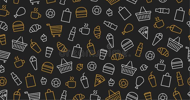 Άνευ ραφής σχέδιο περιλήψεων για ένα εστιατόριο γρήγορου φαγητού σε ένα σκοτεινό υπόβαθρο Burger, κοτόπουλο, χοτ-ντογκ, τηγανιτές απεικόνιση αποθεμάτων
