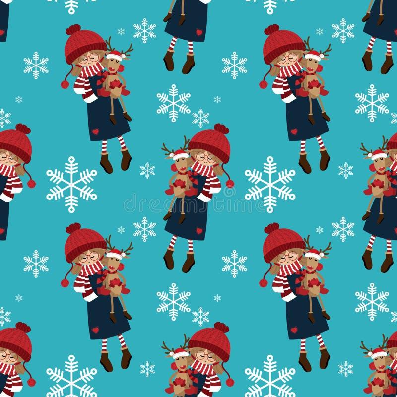 Άνευ ραφής σχέδιο περιόδου διακοπών Χριστουγέννων με το χαριτωμένο κορίτσι στη χειμερινή συνήθεια με τη χαριτωμένη κούκλα ταράνδω διανυσματική απεικόνιση