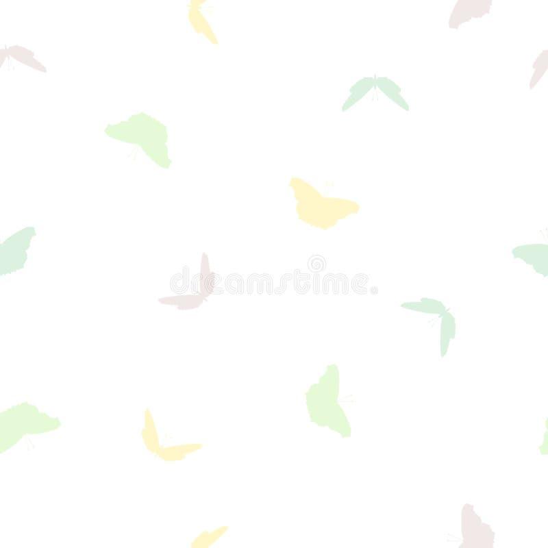 Άνευ ραφής σχέδιο πεταλούδων πολύχρωμο στο λευκό, χρώματα κρητιδογραφιών διανυσματική απεικόνιση