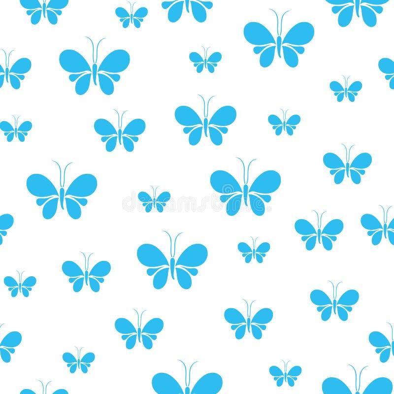 Άνευ ραφής σχέδιο πεταλούδων, χαριτωμένο ζωικό σχέδιο με το άσπρο υπόβαθρο διανυσματική απεικόνιση