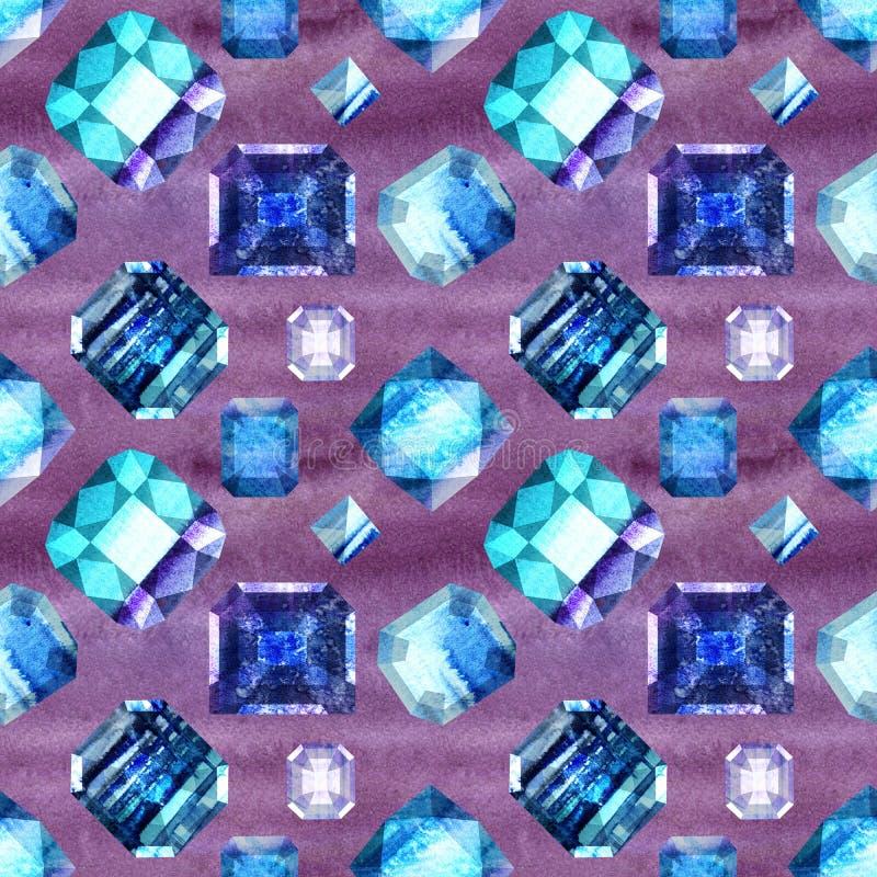 Άνευ ραφής σχέδιο 4 πολύτιμων λίθων ουλτραμαρίνης διανυσματική απεικόνιση