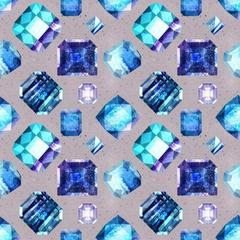Άνευ ραφής σχέδιο 3 πολύτιμων λίθων ουλτραμαρίνης απεικόνιση αποθεμάτων
