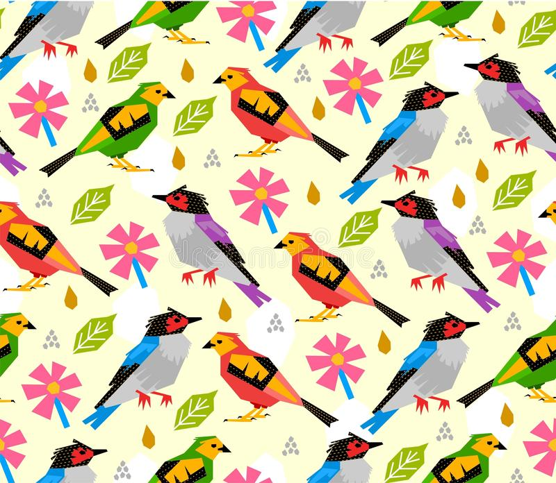 Άνευ ραφής σχέδιο πουλιών με το ρόδινο λουλούδι στο άσπρο υπόβαθρο ελεύθερη απεικόνιση δικαιώματος