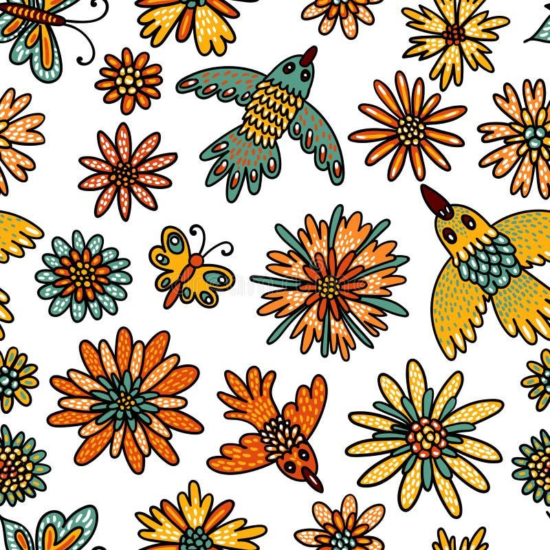 Άνευ ραφής σχέδιο πουλιών, πεταλούδων και λουλουδιών Χαριτωμένη απεικόνιση στο ύφος κινούμενων σχεδίων για τα κλωστοϋφαντουργικά  απεικόνιση αποθεμάτων
