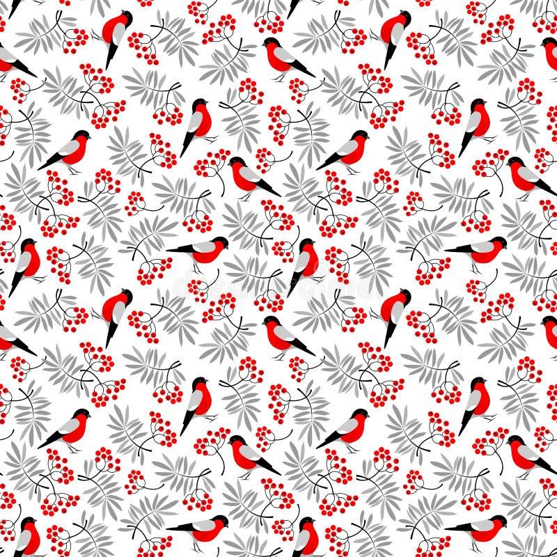 Άνευ ραφής σχέδιο πουλιών Bullfinch ελεύθερη απεικόνιση δικαιώματος