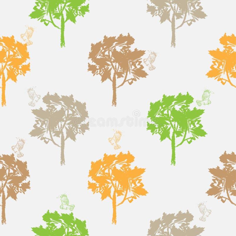 Άνευ ραφής σχέδιο, που επαναλαμβάνει την απεικόνιση, διακοσμητικά διακοσμητικά τυποποιημένα ατελείωτα δέντρα Αφηρημένο υπόβαθρο,  ελεύθερη απεικόνιση δικαιώματος