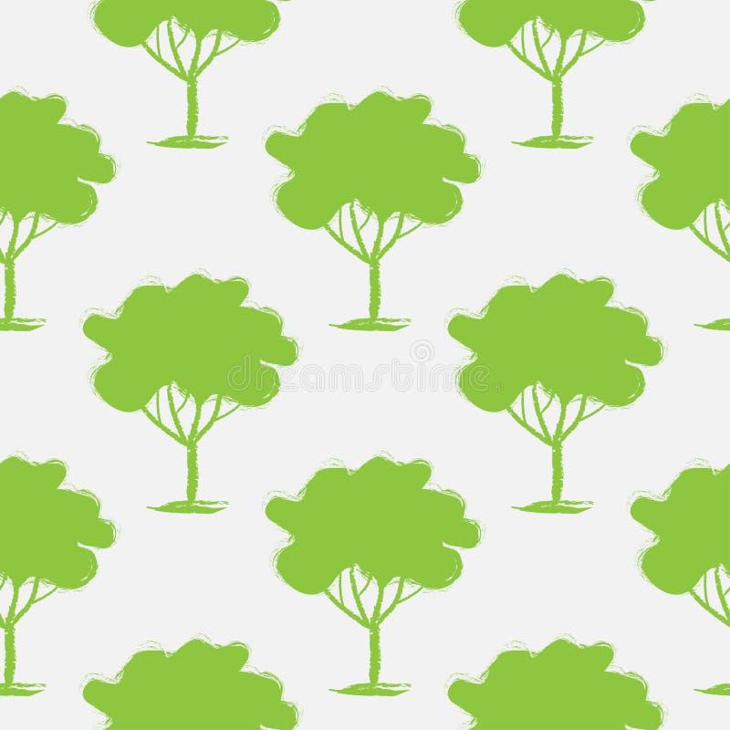 Άνευ ραφής σχέδιο, που επαναλαμβάνει την απεικόνιση, διακοσμητικά διακοσμητικά τυποποιημένα ατελείωτα δέντρα Αφηρημένο υπόβαθρο,  διανυσματική απεικόνιση