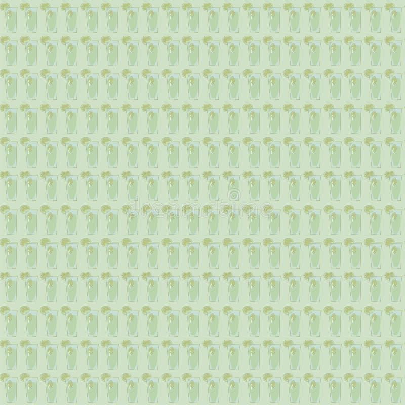 Άνευ ραφής σχέδιο πράσινου φωτός μεντών mojito ποτών των γυαλιών με το διανυσματικό υπόβαθρο ασβέστη ελεύθερη απεικόνιση δικαιώματος