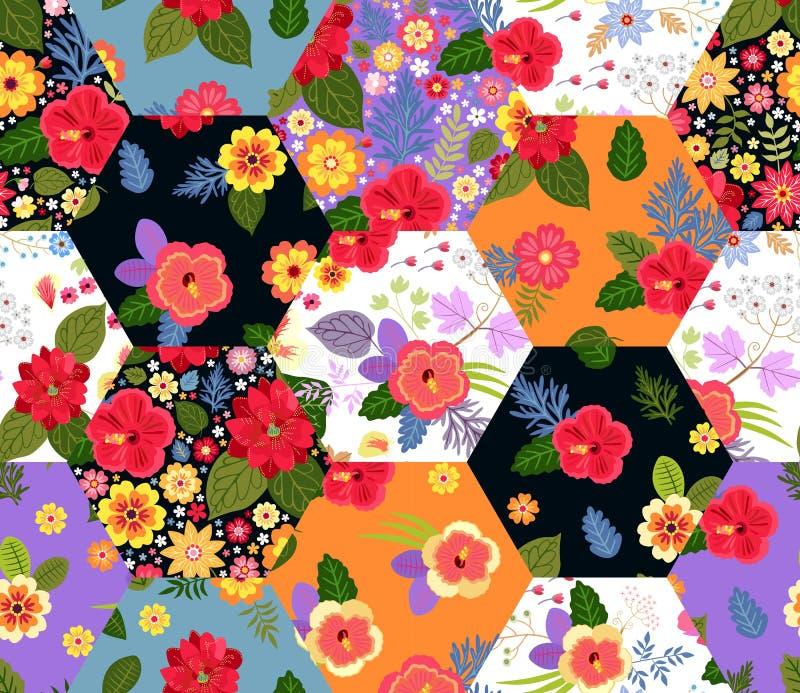 Άνευ ραφής σχέδιο προσθηκών με τα φωτεινά εξωτικά λουλούδια Ζωηρόχρωμο σχέδιο για το καλοκαίρι απεικόνιση αποθεμάτων