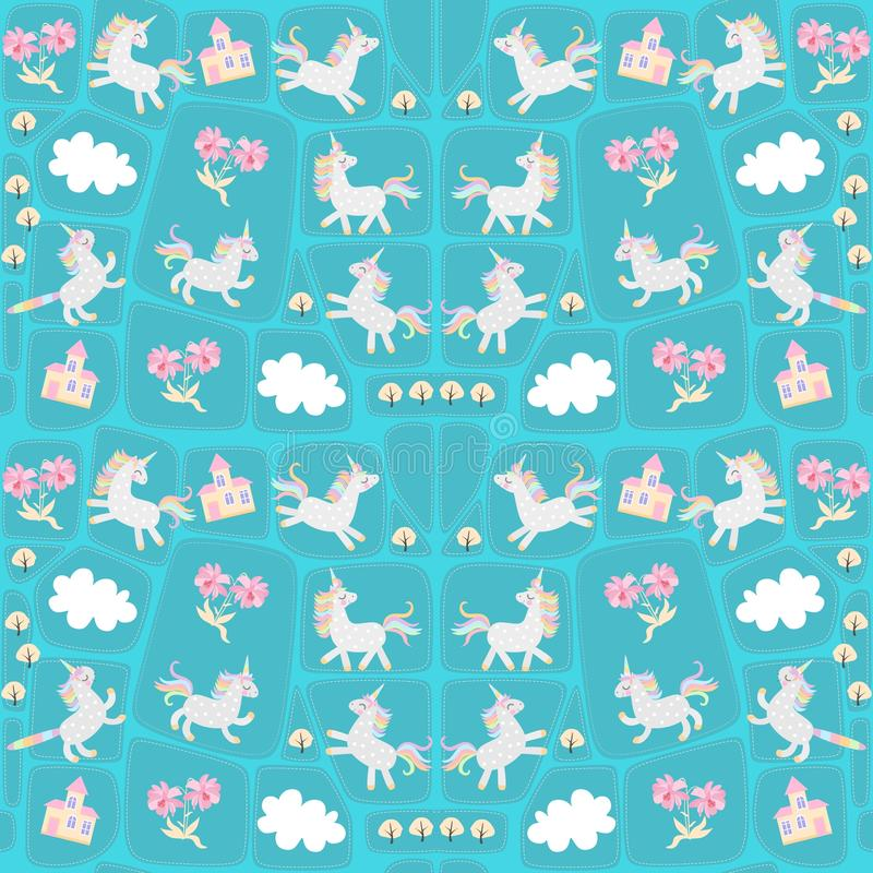 Άνευ ραφής σχέδιο προσθηκών με τους αστείους μονοκέρους και caticorns, τα άσπρα σύννεφα, τα ευγενή ρόδινα λουλούδια, τα δέντρα φθ διανυσματική απεικόνιση
