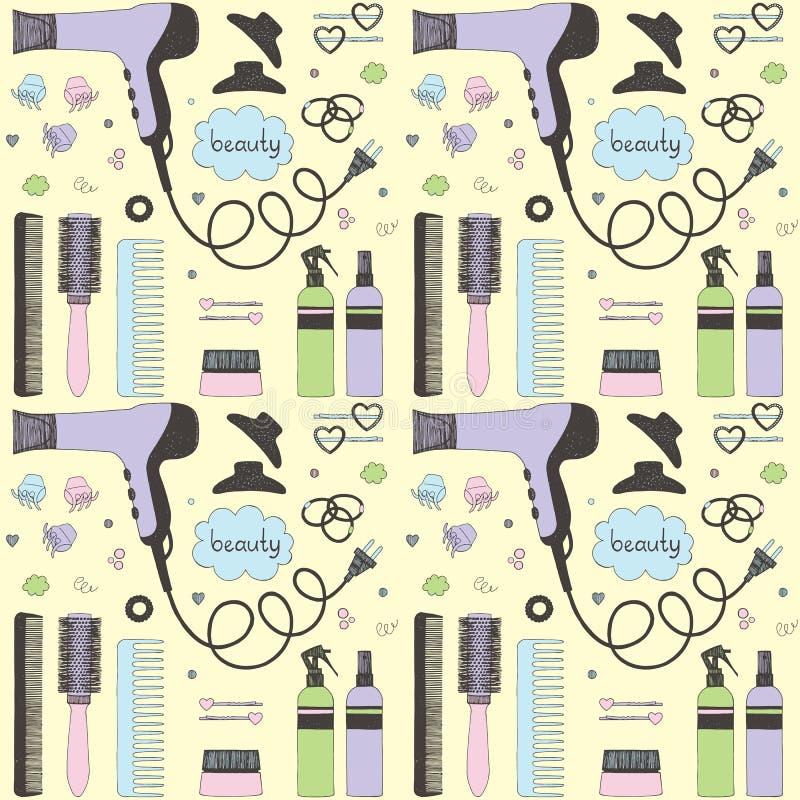 Άνευ ραφής σχέδιο προσοχής ομορφιάς σαλονιών Χρωματισμένο συρμένο χέρι σύνολο προσδιορισμού τρίχας Στεγνωτήρας τρίχας, βούρτσες γ ελεύθερη απεικόνιση δικαιώματος