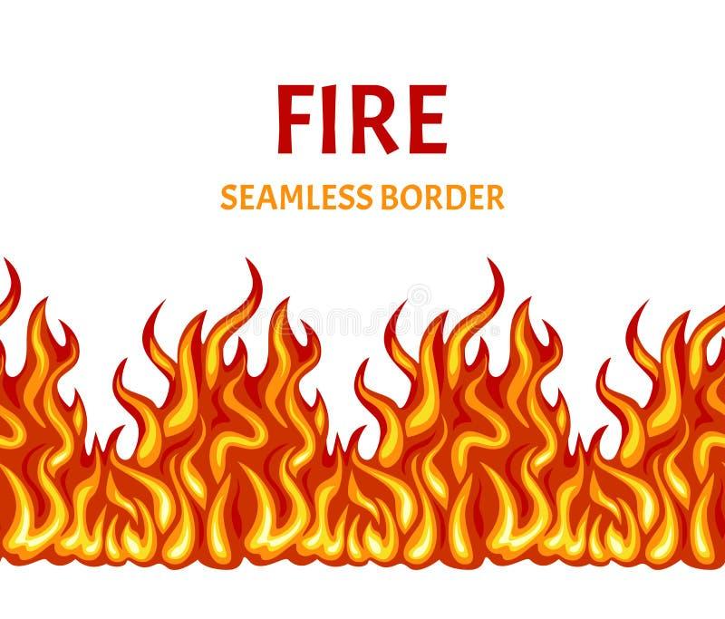 Άνευ ραφής σχέδιο πυρκαγιάς, σύνορα, πλαίσιο Διανυσματική απεικόνιση της φωτεινής φλόγας διανυσματική απεικόνιση
