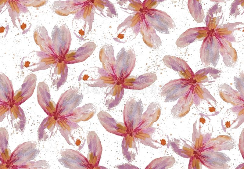 Άνευ ραφής σχέδιο ράστερ με τα λουλούδια frangipani watercolor διανυσματική απεικόνιση