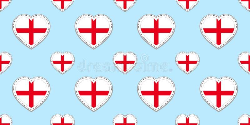 Άνευ ραφής σχέδιο σημαιών της Αγγλίας Διανυσματικά αγγλικά stikers σημαιών Σύμβολα καρδιών αγάπης Σύσταση για τα μαθήματα γλώσσας διανυσματική απεικόνιση
