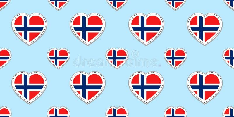 Άνευ ραφής σχέδιο σημαιών της Νορβηγίας Διανυσματικά νορβηγικά stikers σημαιών Σύμβολα καρδιών αγάπης Σύσταση για τα μαθήματα γλώ ελεύθερη απεικόνιση δικαιώματος