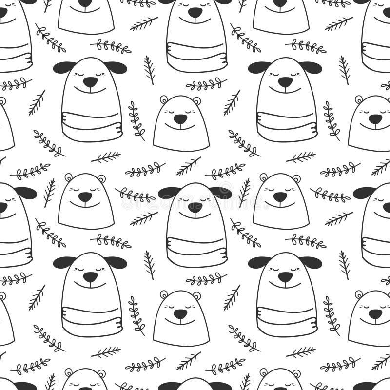 Άνευ ραφής σχέδιο σκυλιών και αρκούδων γραμμών Doodle διανυσματικό διανυσματική απεικόνιση