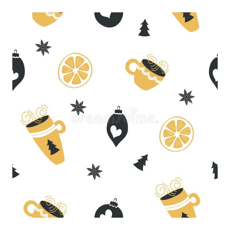 Άνευ ραφής σχέδιο στο άσπρο υπόβαθρο Διακοσμήσεις Χριστουγέννων, λεμόνια, γλυκάνισο αστεριών και φλυτζάνια με το καυτούς τσάι και απεικόνιση αποθεμάτων