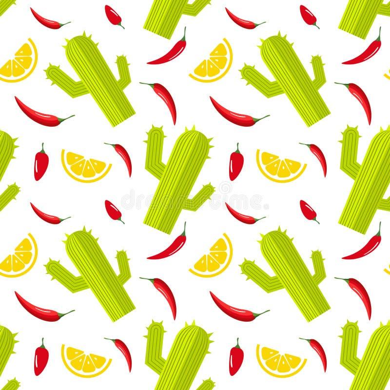 Άνευ ραφής σχέδιο στο άσπρο υπόβαθρο με τον πράσινο κάκτο, το καυτές κόκκινο πιπέρι και τη φέτα του λεμονιού Μεξικάνικο υπόβαθρο  ελεύθερη απεικόνιση δικαιώματος