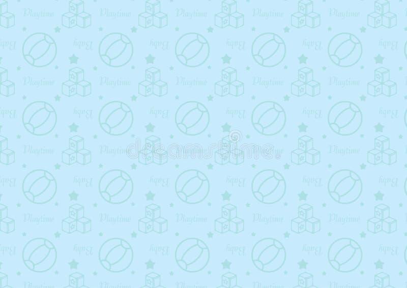 Άνευ ραφής σχέδιο στο εικονίδιο ύφους γραμμών με διάνυσμα θέματος παιχνιδιών μωρών το editable resizable πλήρως στο μαλακό μπλε χ ελεύθερη απεικόνιση δικαιώματος