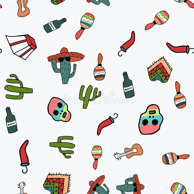 Άνευ ραφής σχέδιο στο θέμα του Μεξικού στο ύφος doodle διανυσματική απεικόνιση