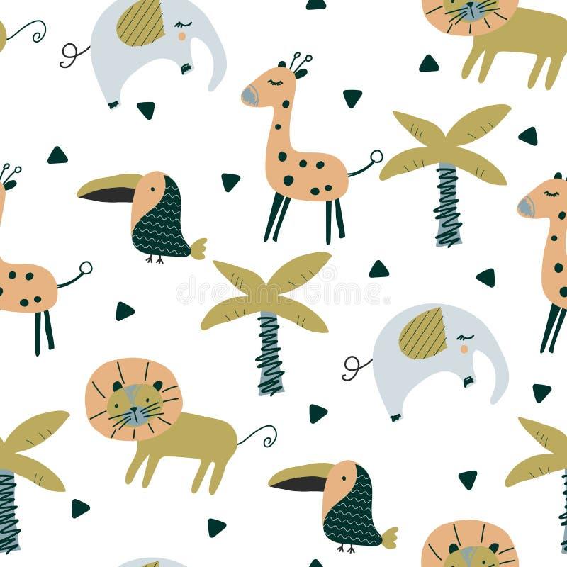 Άνευ ραφής σχέδιο στο Σκανδιναβικό ύφος με το χαριτωμένο ελέφαντα, toucan, giraffe, λιοντάρι απεικόνιση αποθεμάτων