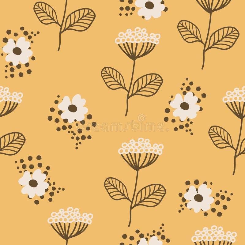 Άνευ ραφής σχέδιο στο Σκανδιναβικό ύφος Σχέδιο Florar για την τυπωμένη ύλη στην ταπετσαρία, έγγραφο δώρων, κλωστοϋφαντουργικό προ απεικόνιση αποθεμάτων