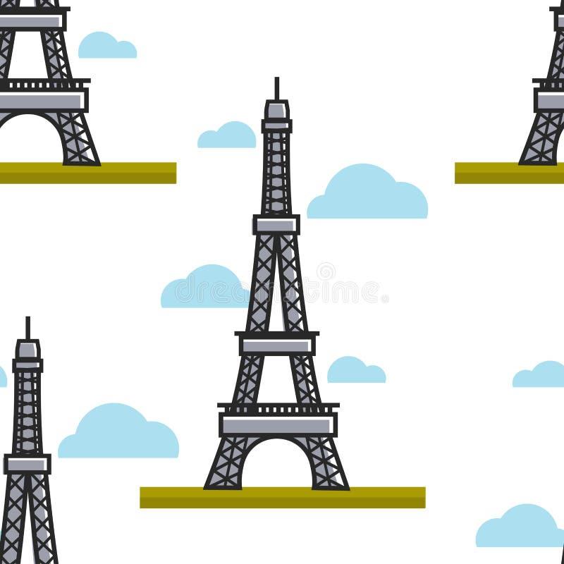 Άνευ ραφής σχέδιο συμβόλων της Γαλλίας πύργων του Άιφελ αρχιτεκτονικής του Παρισιού απεικόνιση αποθεμάτων
