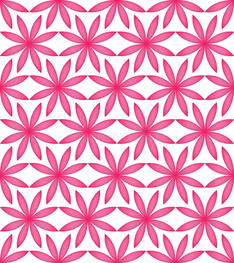 Άνευ ραφής σχέδιο συμμετρίας λουλουδιών ρόδινο πλήρες απεικόνιση αποθεμάτων