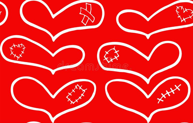 Άνευ ραφής σχέδιο συρμένων των χέρι άσπρων καρδιών με το ασβεστοκονίαμα, το σημάδι και το μπάλωμα ελεύθερη απεικόνιση δικαιώματος