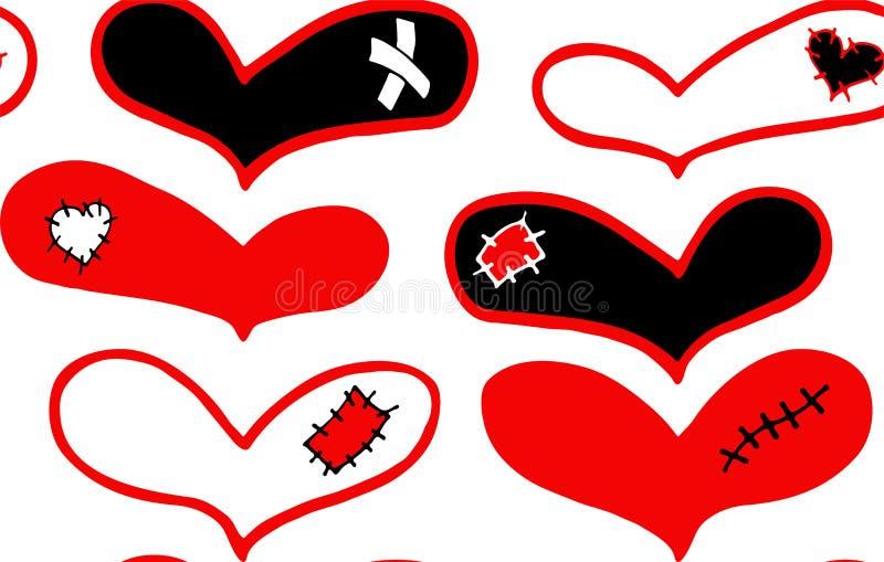 Άνευ ραφής σχέδιο συρμένων των χέρι κόκκινων και μαύρων καρδιών με το ασβεστοκονίαμα, το σημάδι και το μπάλωμα διανυσματική απεικόνιση